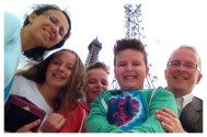 Timo's first selfie-stick pic... at the Eiffel Tower