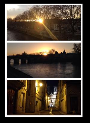 sunset, Châtellerault, Pont Henri IV, France