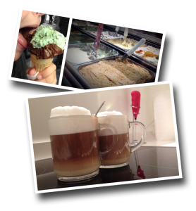 gelato, ice cream, cappuccino, coffee, frothed milk