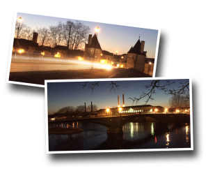 Chatellerault, Pont Henri IV, Henry 4th Bridge, manufacture, La Manu, La Vienne, Vienne River, Light trails, Slow Shutter app