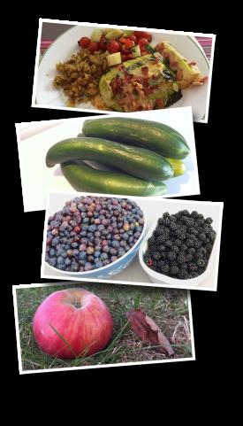 grapes, apples, blackberries, cucumbers, zucchini, harvest, garden