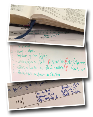 Bible, white board, notes