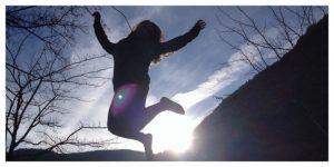 jump, silhouette, sunset, alps