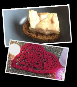 crocheted heart, fish, entrée